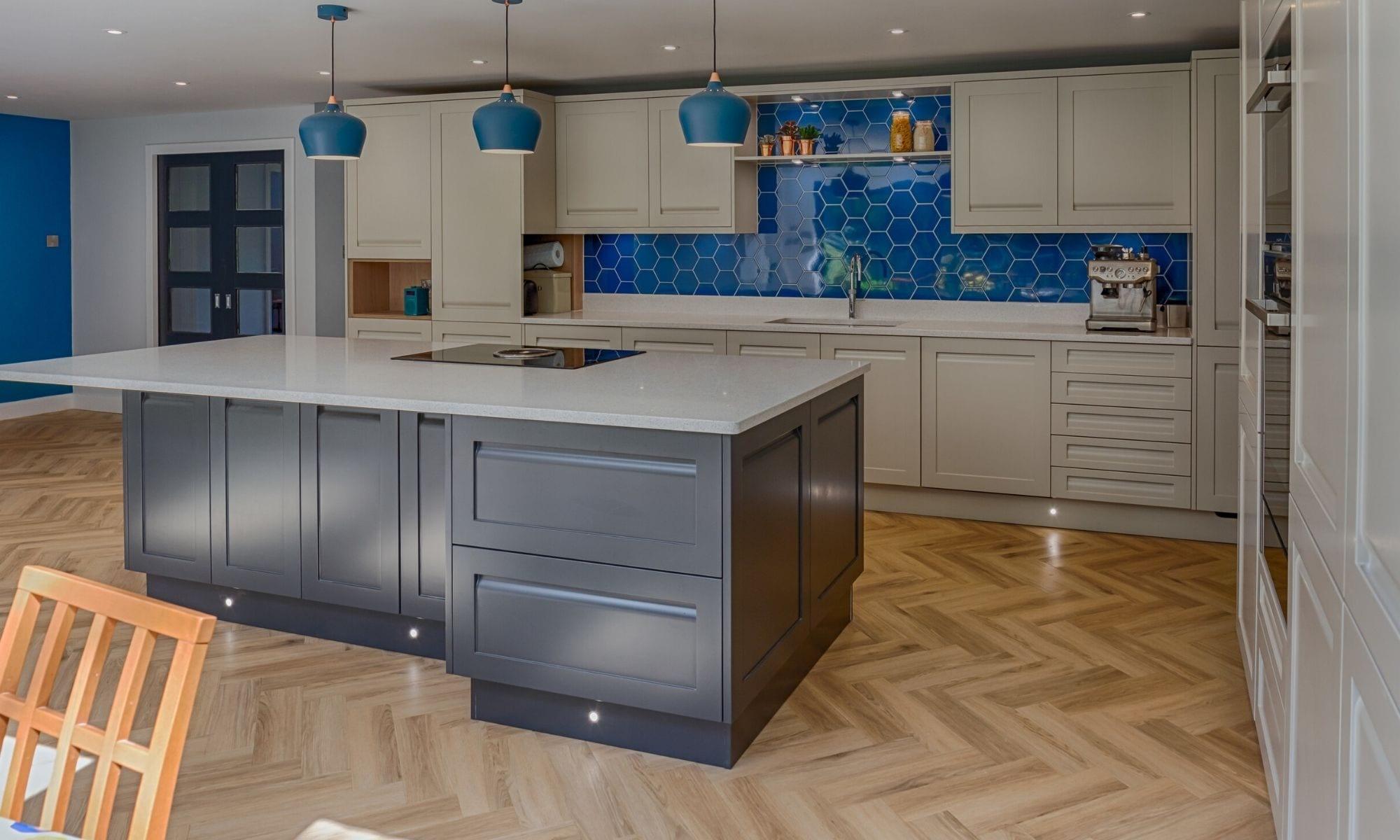 Kitchen with herringbone floor
