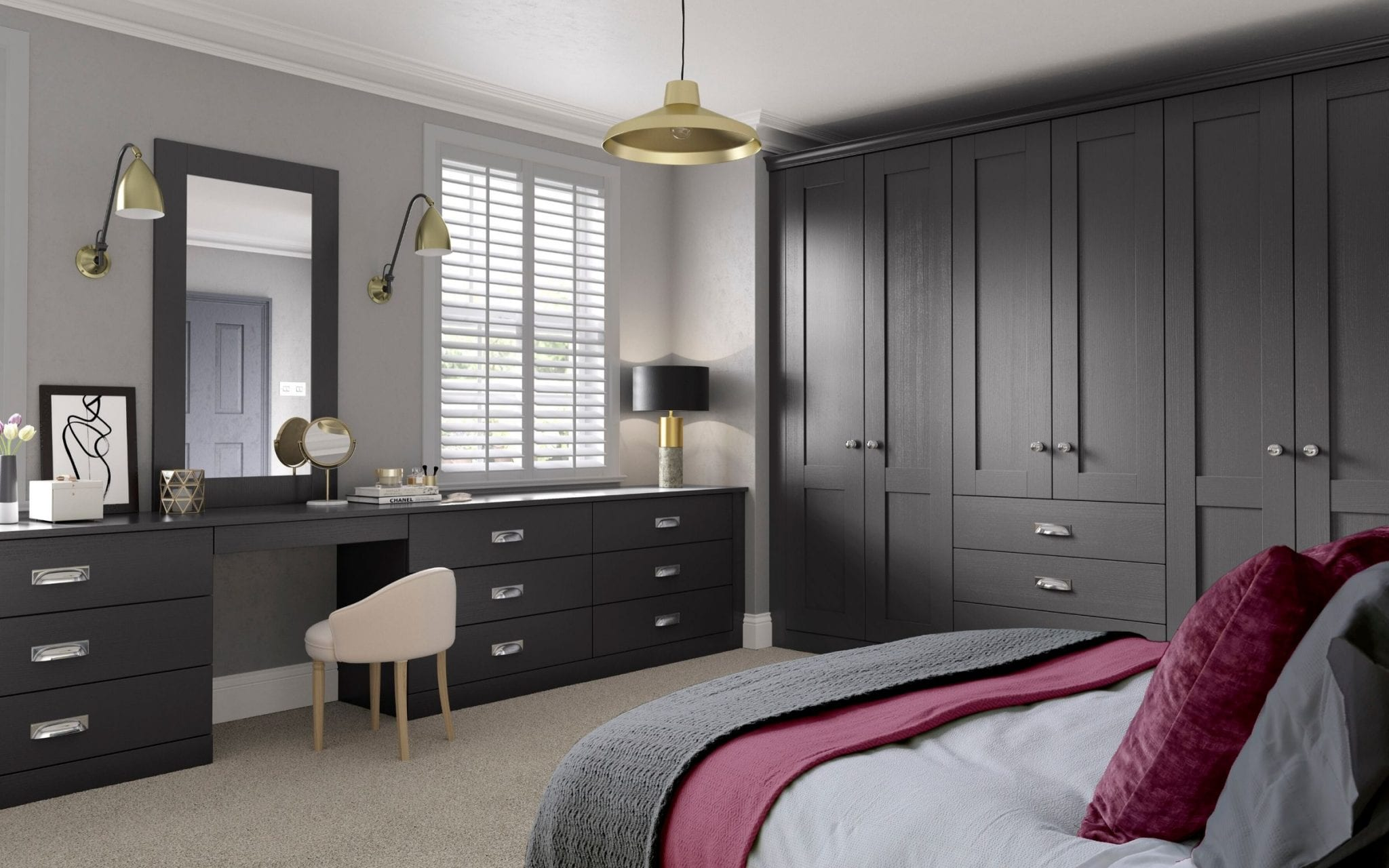 Dark Wood Finish Bedroom