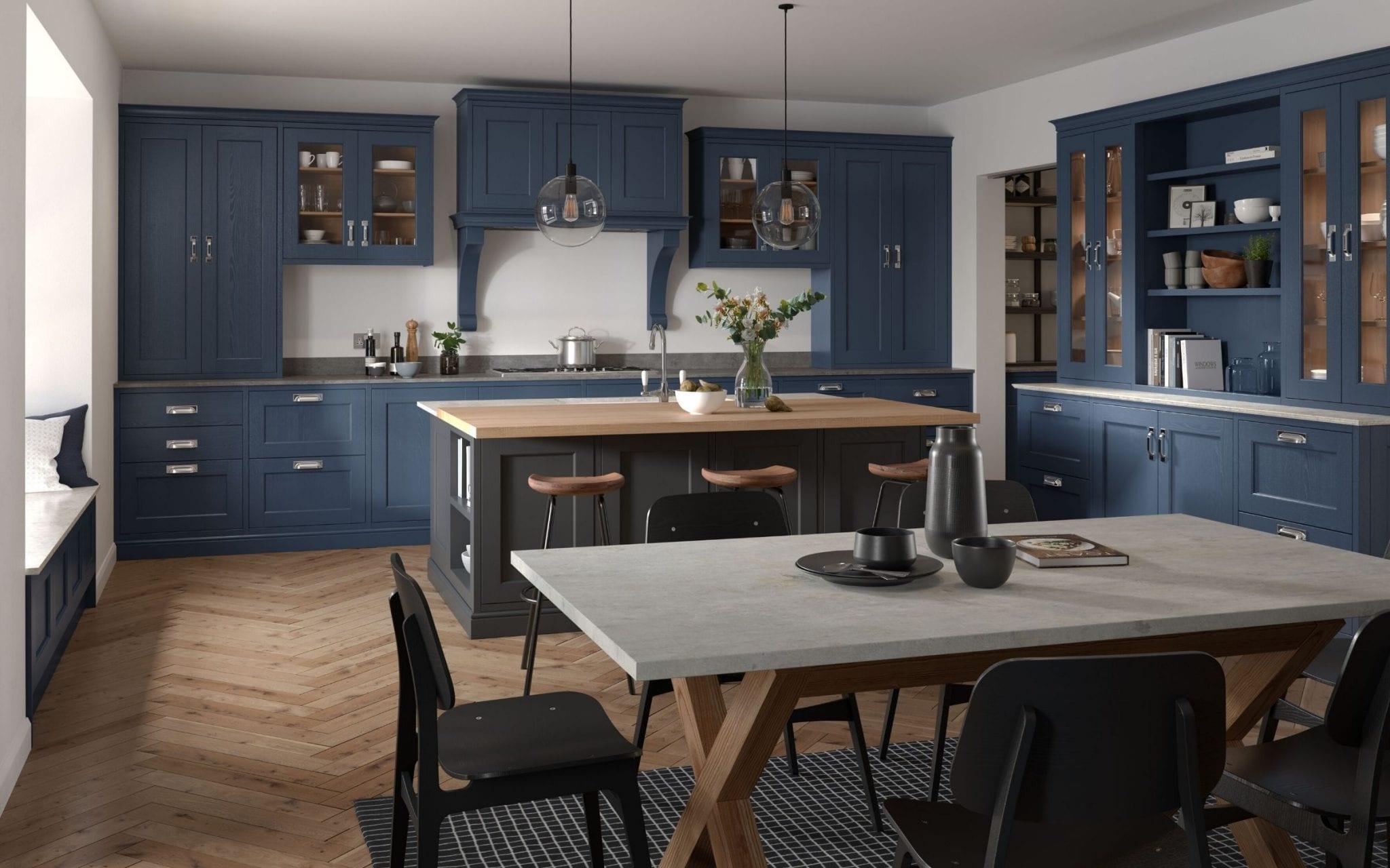 In-Frame Kitchen In Blue