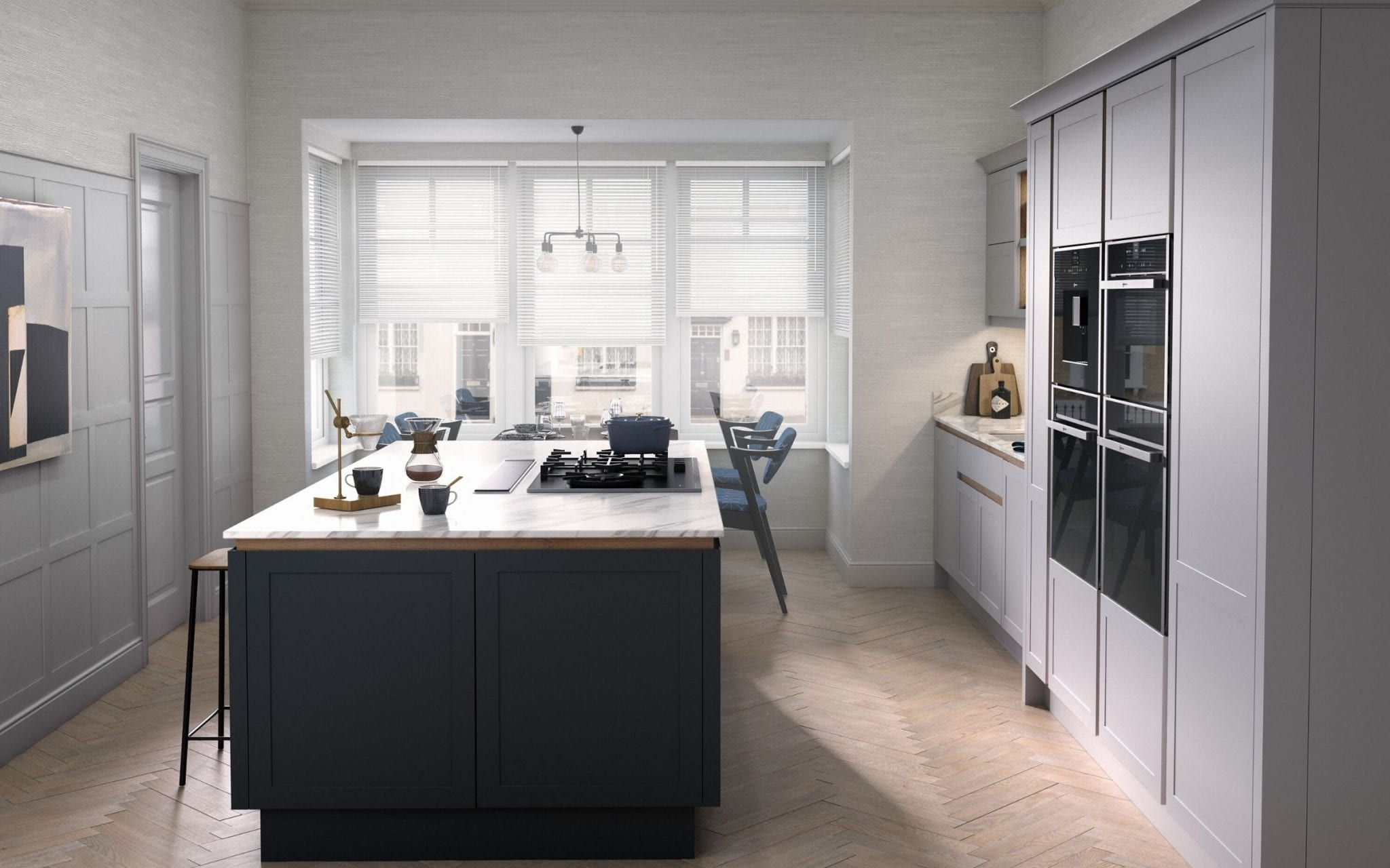 Kitchen With Herringbone Floor